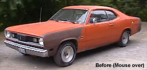Before and after of big block Plymouth Duster